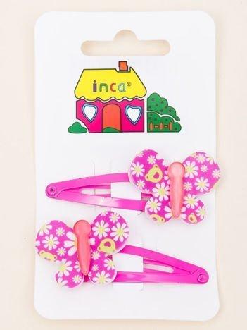 INCA Spinki do włosów z motylem różowe komplet 2 szt.