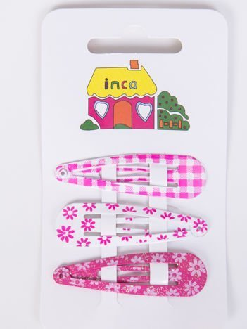 INCA Spinki  różowe wzorzyste Zestaw 3 szt.