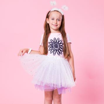 INCA Spódniczka dziewczęca tiulowa biała z brokatem i lśniącymi gwiazdkami
