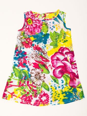 INCA Sukienka dziewczęca w duże Kwiatki