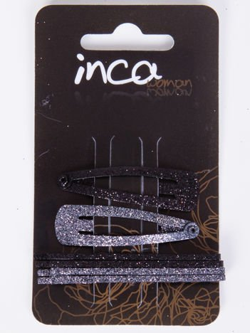 INCA Zestaw 6 szt. Spinki + gumki w odcieniach koloru czarnego z brokatem