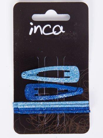 INCA Zestaw 6 szt. Spinki + wsuwki w odcieniach koloru niebieskiego z brokatem