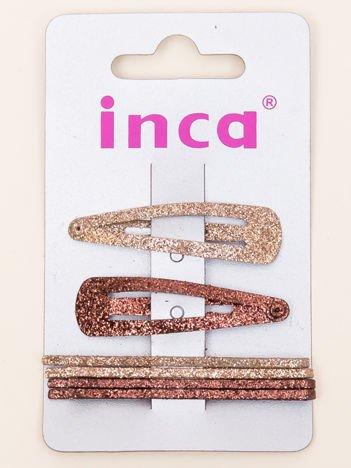 INCA Zestaw spinek z brokatem do włosów pyki + wsuwki komplet 6 szt.