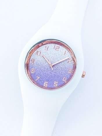JELLY biały zegarek damski z tarczą glitter ombre