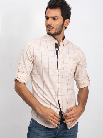 Jasnobeżowa koszula męska Monsieur