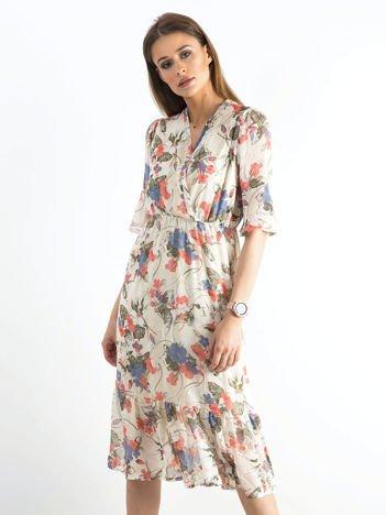 Jasnobeżowa kwiatowa sukienka