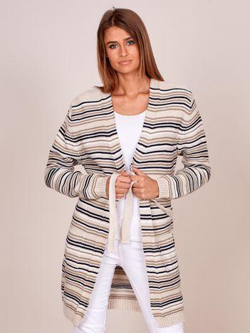 Jasnobeżowy sweter w paski z wiązaniem