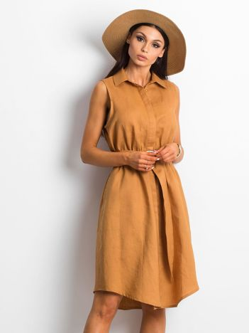 Jasnobrązowa sukienka Laboured