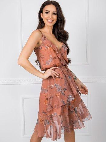 Jasnobrązowa sukienka Spring RUE PARIS