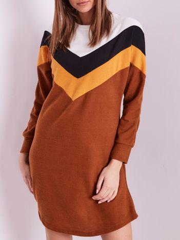 Jasnobrązowa sukienka color block