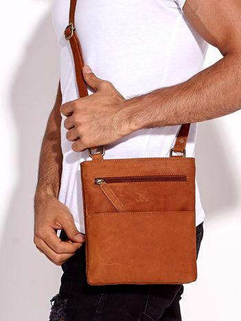 Jasnobrązowa torba męska ze skóry naturalnej z dzielonymi komorami