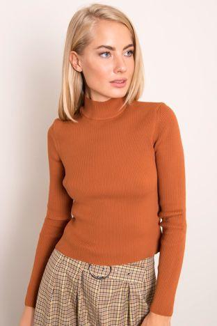 Jasnobrązowy dopasowany sweter BSL