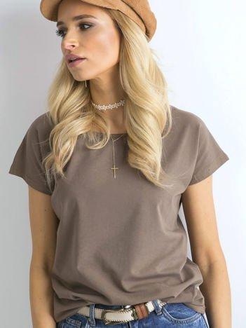 Jasnobrązowy gładki t-shirt