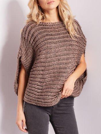 Jasnobrązowy sweter kamizelka