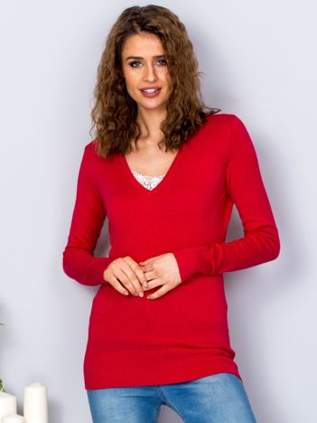 Jasnoczerwony sweter V-neck