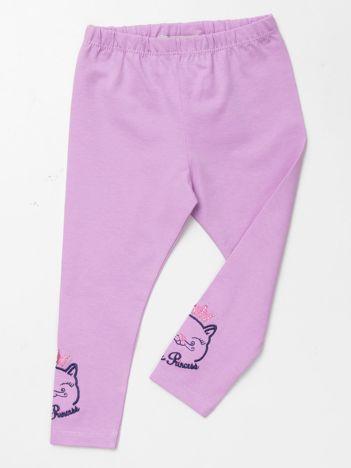 Jasnofioletowe bawełniane legginsy dla dziewczynki