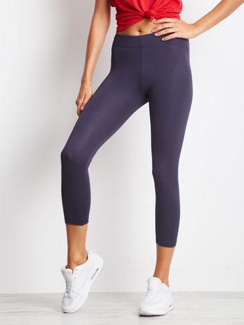 Jasnogranatowe legginsy na siłownię 7/8 o średniej grubości