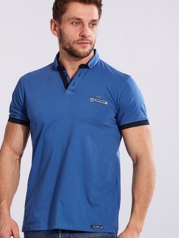 Jasnoniebieska bawełniana męska koszulka polo