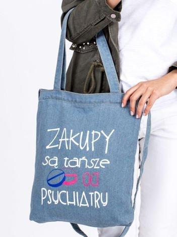 Jasnoniebieska bawełniana torba ZAKUPY SĄ TAŃSZE OD PSYCHIATRY
