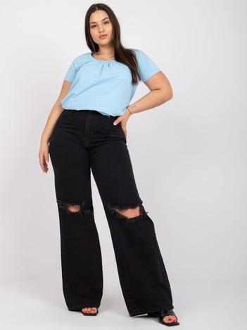 Jasnoniebieska bluzka plus size z bawełny Celeste