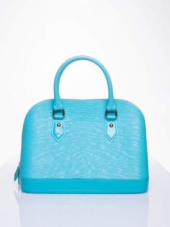 Jasnoniebieska fakturowana torba gumowa kuferek z rączką