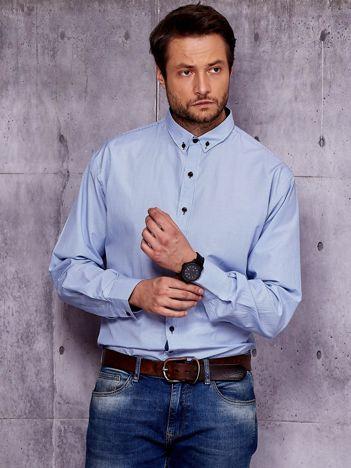 Jasnoniebieska koszula męska w drobne pionowe paski PLUS SIZE