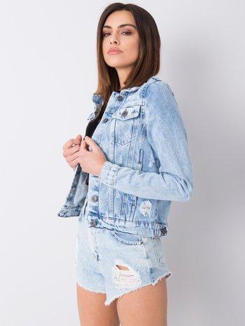 Jasnoniebieska kurtka jeansowa z przetarciami Raquel RUE PARIS