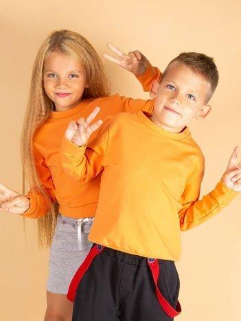 Jasnopomarańczowa gładka bluza dziecięca