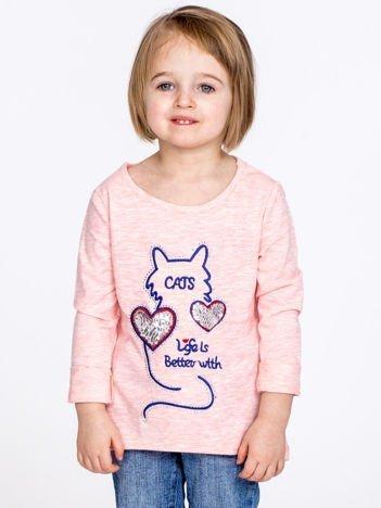 Jasnoróżowa bawełniana bluzka dziecięca z kotem i cekinami