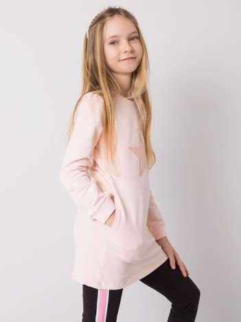 Jasnoróżowa bawełniana tunika dla dziewczynki