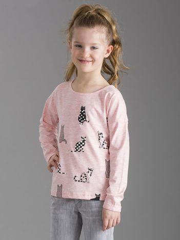 Jasnoróżowa bluzka dla dziewczynki w koty