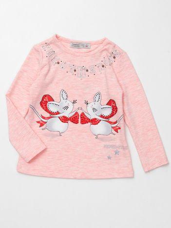 Jasnoróżowa bluzka dla dziewczynki z aplikacją