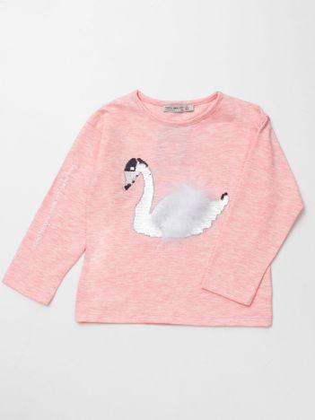 Jasnoróżowa bluzka dla dziewczynki z łabędziem