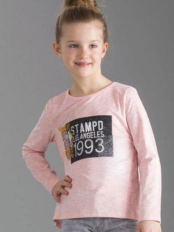 Jasnoróżowa bluzka dziewczęca z nadrukiem i cekinami