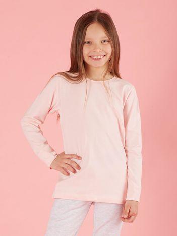Jasnoróżowa dziewczęca bluzka basic