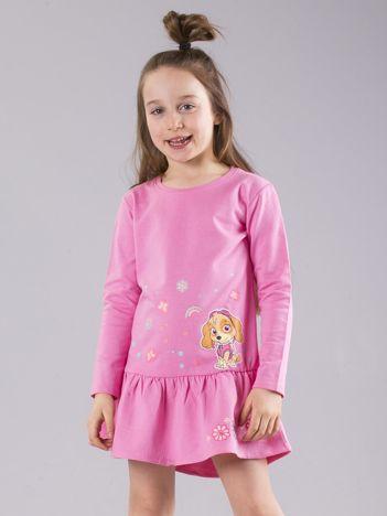 Jasnoróżowa dziewczęca sukienka z nadrukiem PSI PATROL