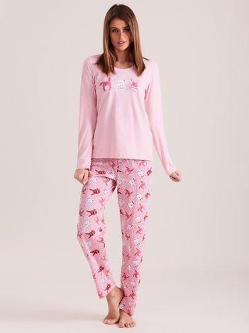 Jasnoróżowa piżama damska w króliczki