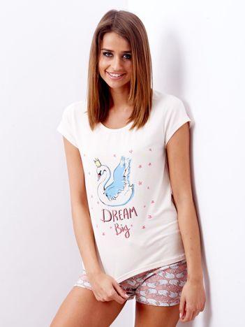 Jasnoróżowa piżama damska z nadrukiem