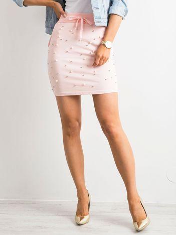 Jasnoróżowa spódnica z perełkami