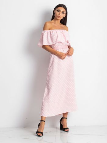 Jasnoróżowa sukienka Droping