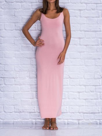 Jasnoróżowa sukienka letnia maxi z wiązaniem