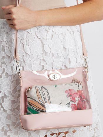 Jasnoróżowa torebka z wyjmowaną kosmetyczką
