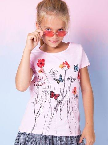 Jasnoróżowa tunika dla dziewczynki z motywem łąki