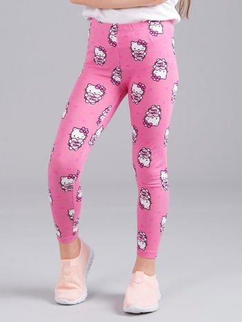 Jasnoróżowe legginsy dziewczęce z nadrukiem HELLO KITTY