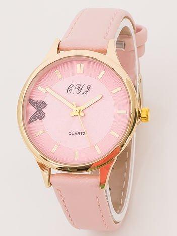 Jasnoróżowy Zegarek Damski z Motylem