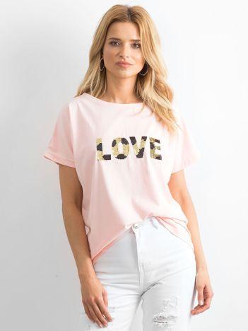 Jasnoróżowy luźny t-shirt Lovers
