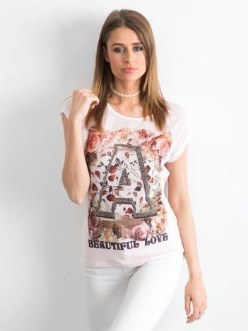Jasnoróżowy siateczkowy t-shirt