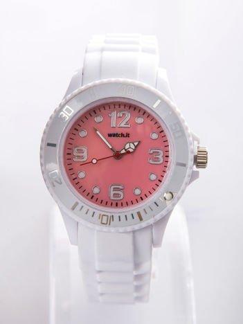 Jasnoróżowy silikonowy zegarek damski