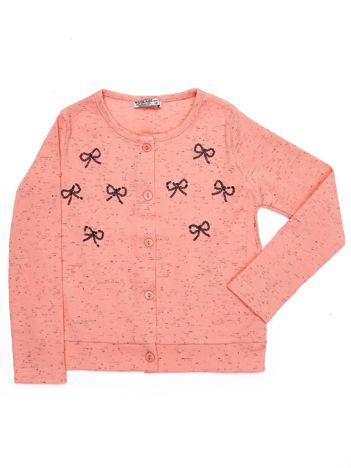 Jasnoróżowy sweter dziecięcy rozpinany z kokardkami