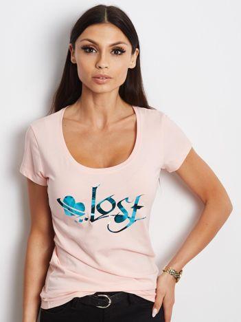 Jasnoróżowy t-shirt Lost